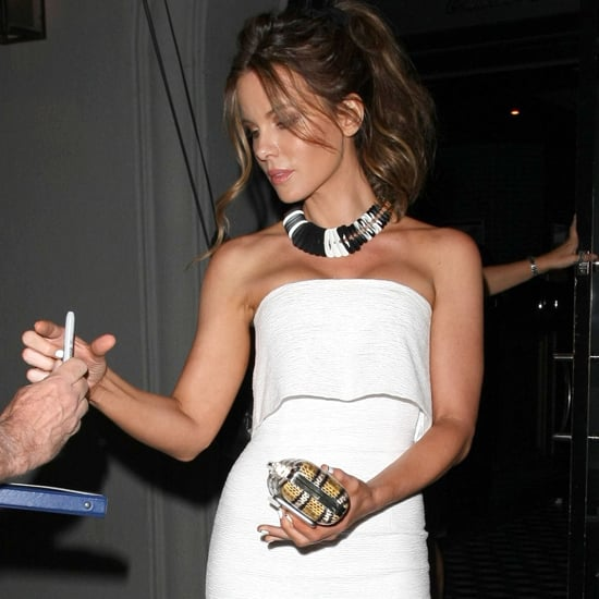 Kate Beckinsale Wearing a White Dress