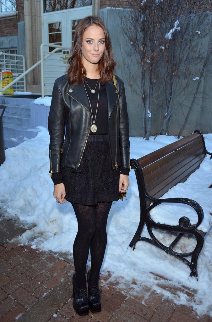 Kaya Scodelario wore a leather jacket.