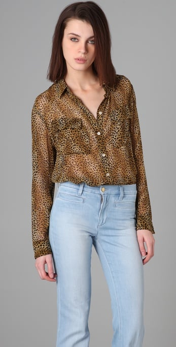 Equipment Signature Leopard Chiffon Blouse ($208)