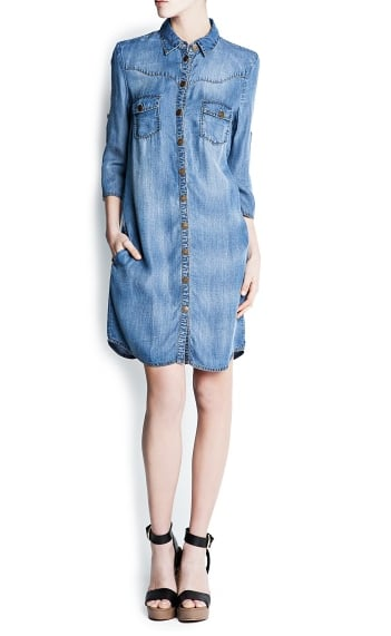 The gold buttons and strategic stitching on this Mango denim shirtdress ($70) give it a cool Western feel. Be sure to balance those details out with more modern touches.