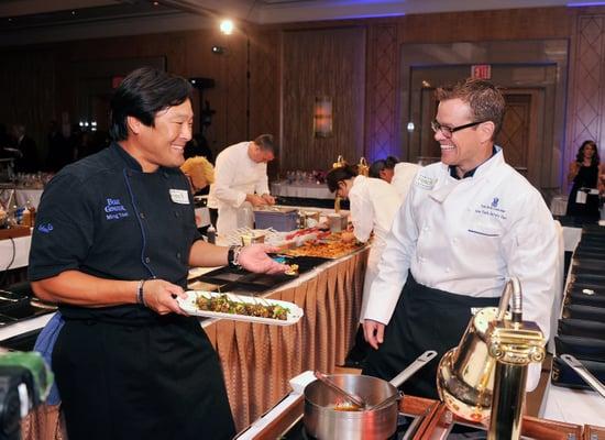 Chef Ming Tsai and actor Matt Damon joked together.