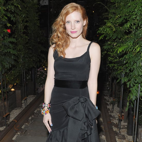 Jessica Chastain Wearing Black Ruffle Dress