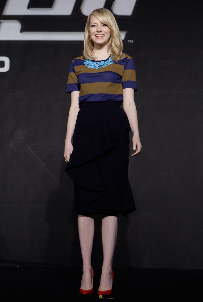 Emma Stone wore Burberry Prorsum to a press conference for The Amazing Spider-Man in Seoul.