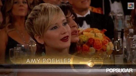 Jennifer Lawrence Unknowingly Participates in Amy Poehler's Joke at the Globes