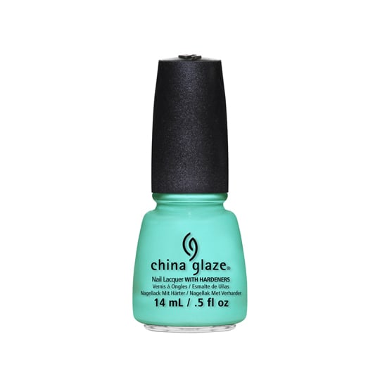 """What I love more than a """"punny"""" name for a polish is a vibrant, electric color. China Glaze's Too Yacht to Handle ($8, out July) is a minty turquoise that pops on every skin tone, and makes any manicure fit for Summer.  — KJ"""
