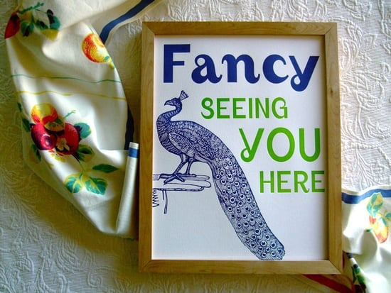 Nice and New: Letterpress Peacock Poster