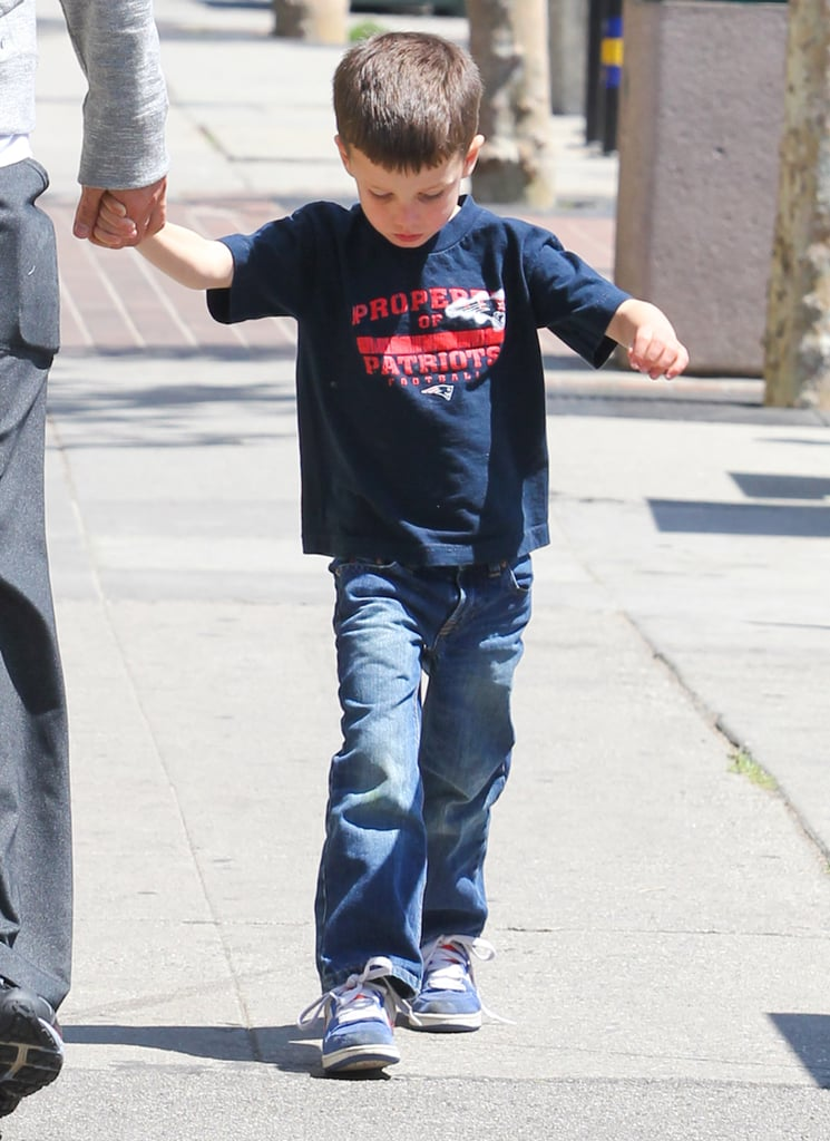 Jack Moynahan held his dad's hand as they left Whole Foods Market.