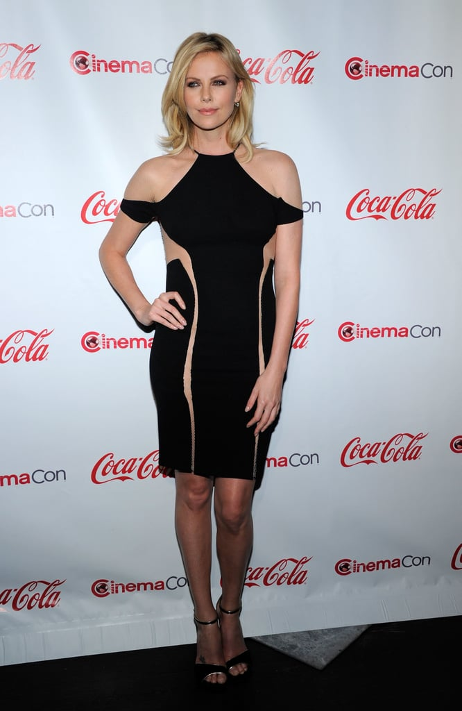 Charlize Theron wore a sexy, nude-paneled LBD at the CinemaCon Awards in April 2012.