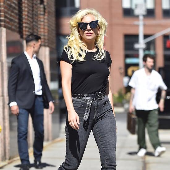 Lady Gaga Wearing a Bandana Around Her Boot