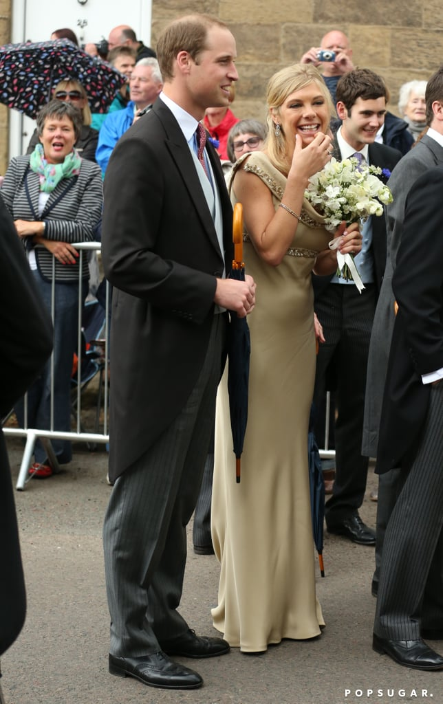 Prince William had a laugh with Prince Harry's ex-girlfriend Chelsy Davy at the wedding of pals Lady Melissa Percy and Thomas van Straubenzee in Northumberland, England.