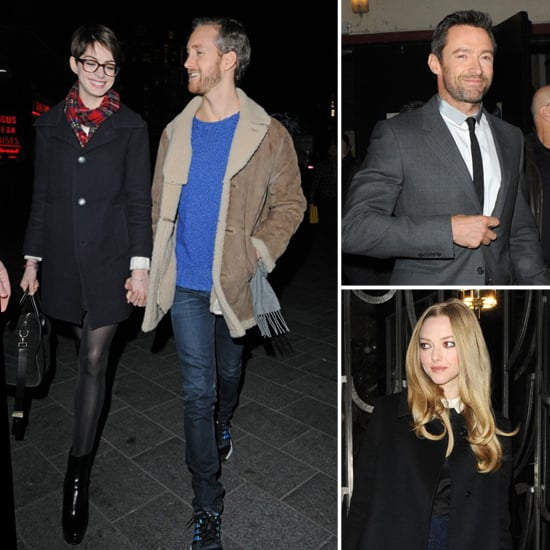 Anne Hathaway Shows PDA and Screens Les Mis With Hugh and Amanda
