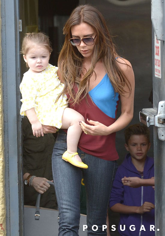 Victoria Beckham took Harper Beckham and her boys out to lunch in LA.