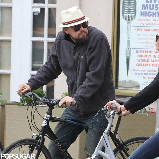 Leonardo DiCaprio got on a bike in NYC.