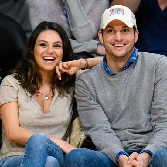 Mila Kunis and Ashton Kutcher at Lakers Game Dec. 2014
