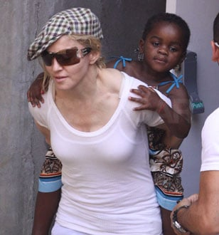 Photos of Madonna Giving Mercy Piggyback Ride After Kabbalah with Guy Ritchie, David Banda, Rocco Ritchie, Lourdes Leon