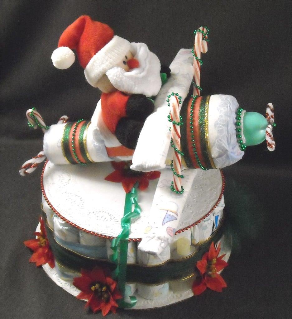Santa Airplane Diaper Cake