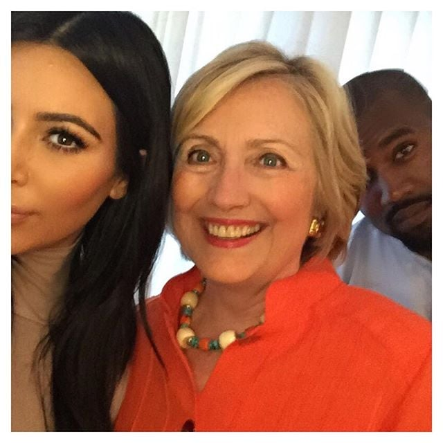 Hillary Clinton made Kanye West crack a rare smile in this selfie in 2015.