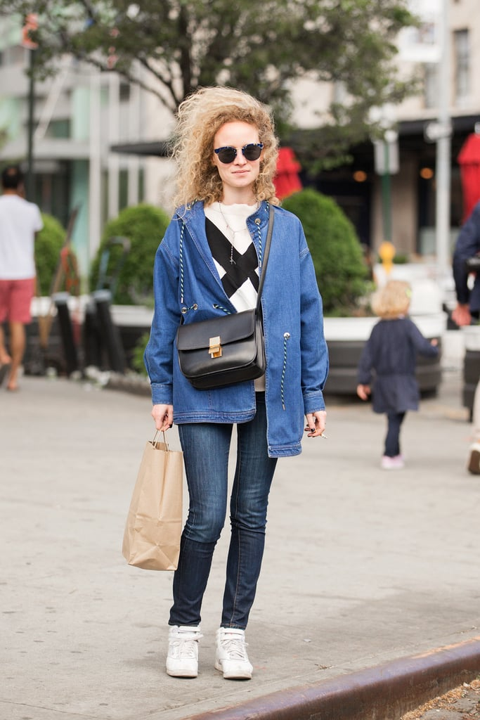 Jeans and sneakers may be a classic combination, but a funky jacket and graphic shirt help the combination feel fresh.