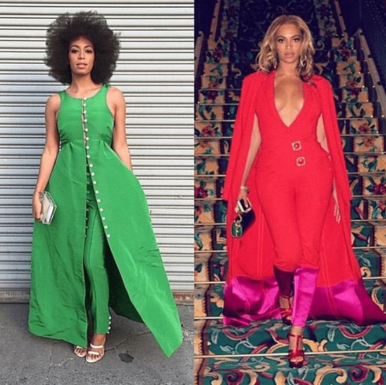 Beyonce Wearing a Red Jumpsuit in Las Vegas