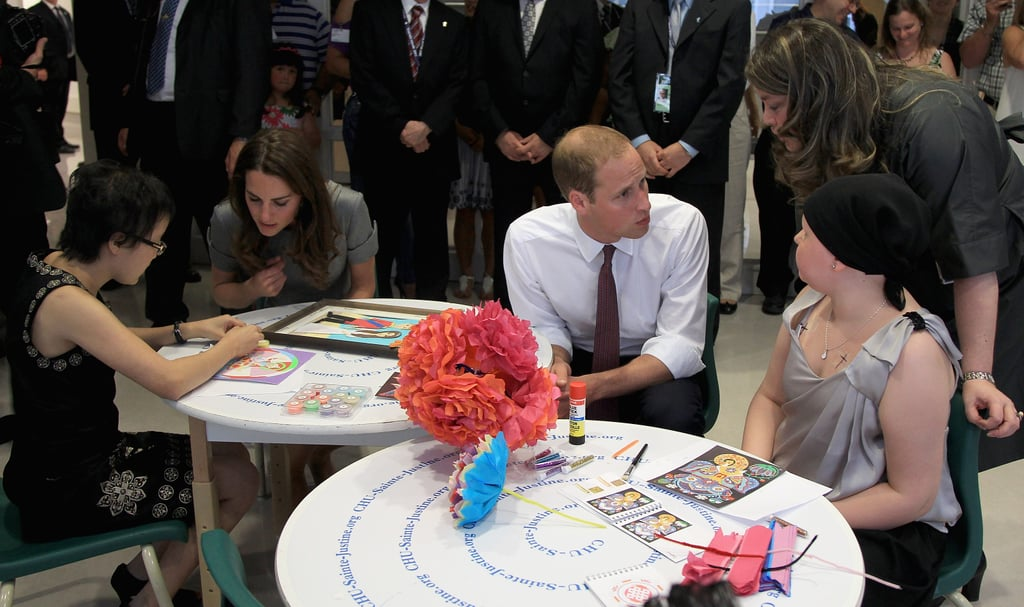 Prince William and Kate Middleton made time to chat with sick kids at a Montreal hospital.