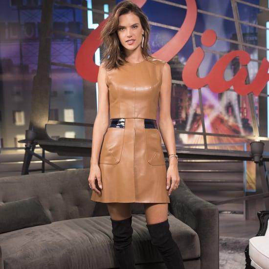 Alessandra Ambrosio in a Sexy Leather Minidress