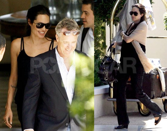 Angelina Pregnant with Twins Leaving Her Hotel