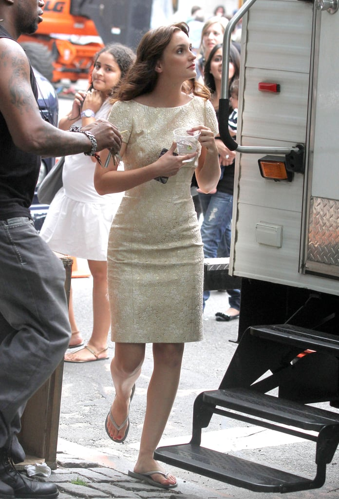 Leighton Meester stepped out of a trailer on the Gossip Girl set.