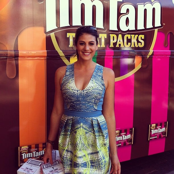 Jess bumped into Stephanie Rice at Circular Quay — she was handing out Tim Tams as part of her challenge on The Celebrity Apprentice.