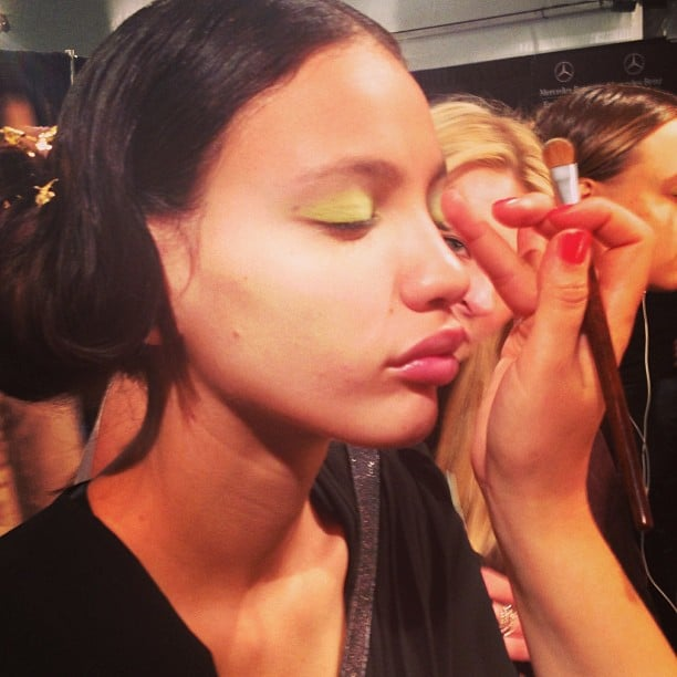 Yes, that is an electric green eye shadow at Lela Rose.