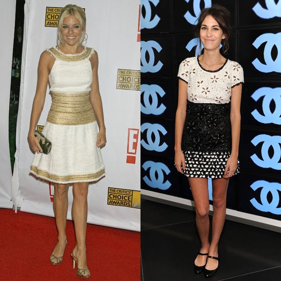 Taking turns in Chanel: Sienna in gold and white, Alexa in a sweet embellished tweed.