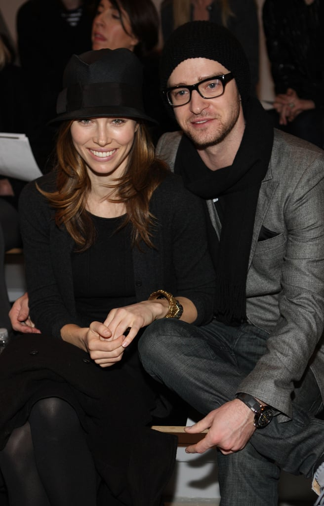 Jessica Biel and Justin Timberlake showed PDA at the Paris68 February 2010 show in NYC.