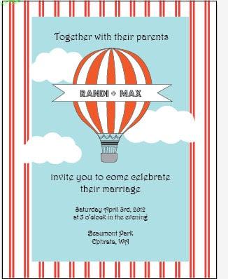 Hot Air Balloon Wedding Invitation