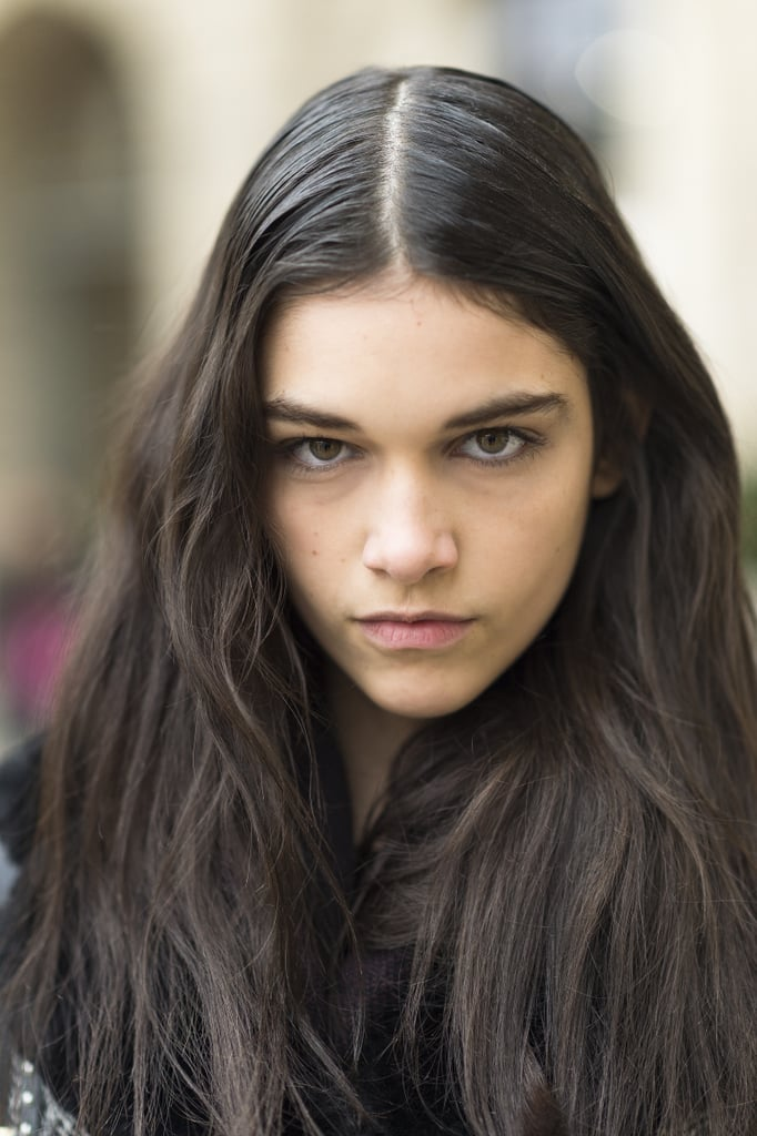 Lined eyes and parted hair, like model Isabella Melo's, make for a great everyday look. Source: Le 21ème | Adam Katz Sinding