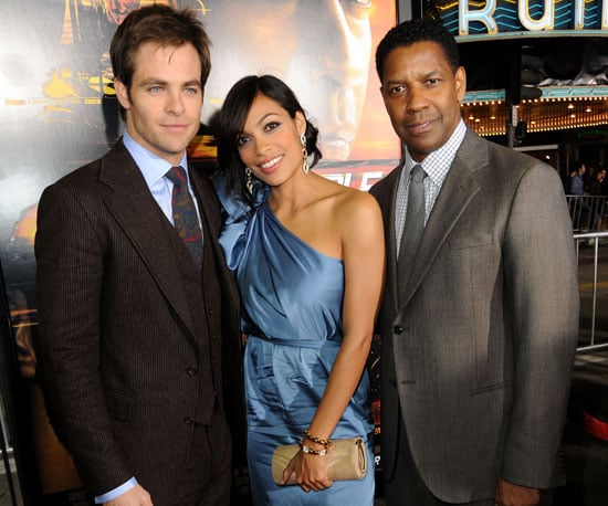 Slide Picture of Chris Pine, Rosario Dawson and Denzel Washington at the LA Premiere of Unstoppable