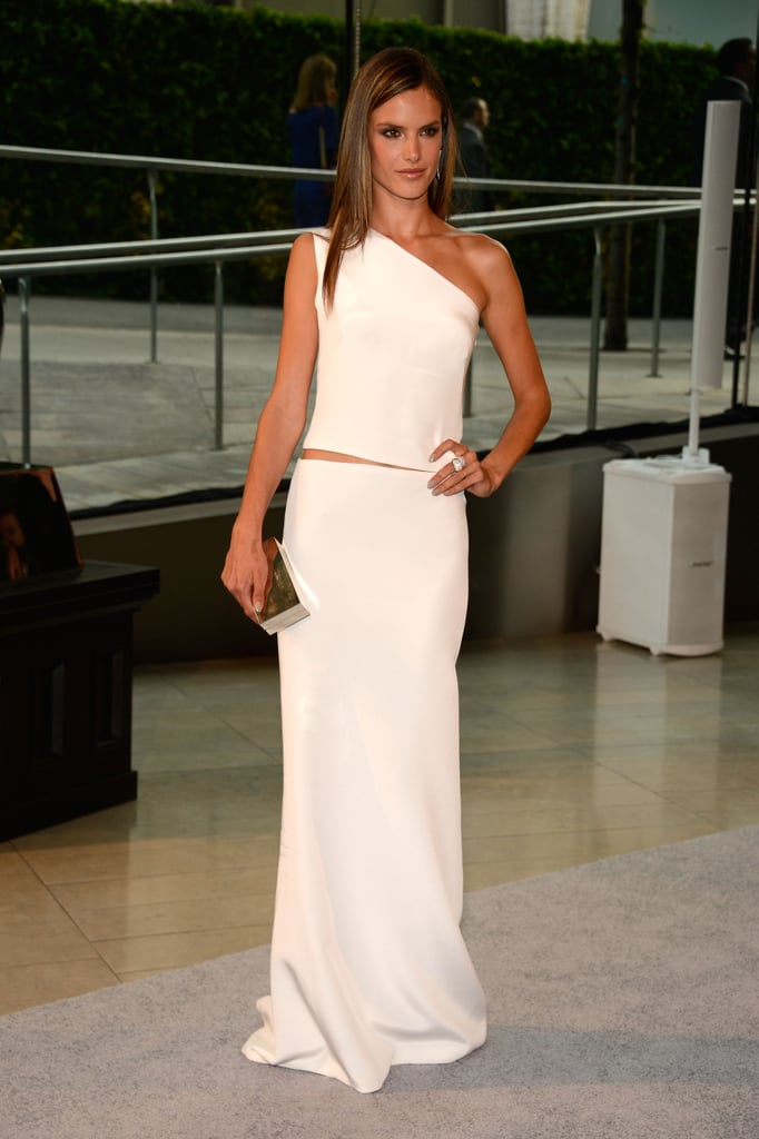 Alessandra Ambrosio wore a white gown.