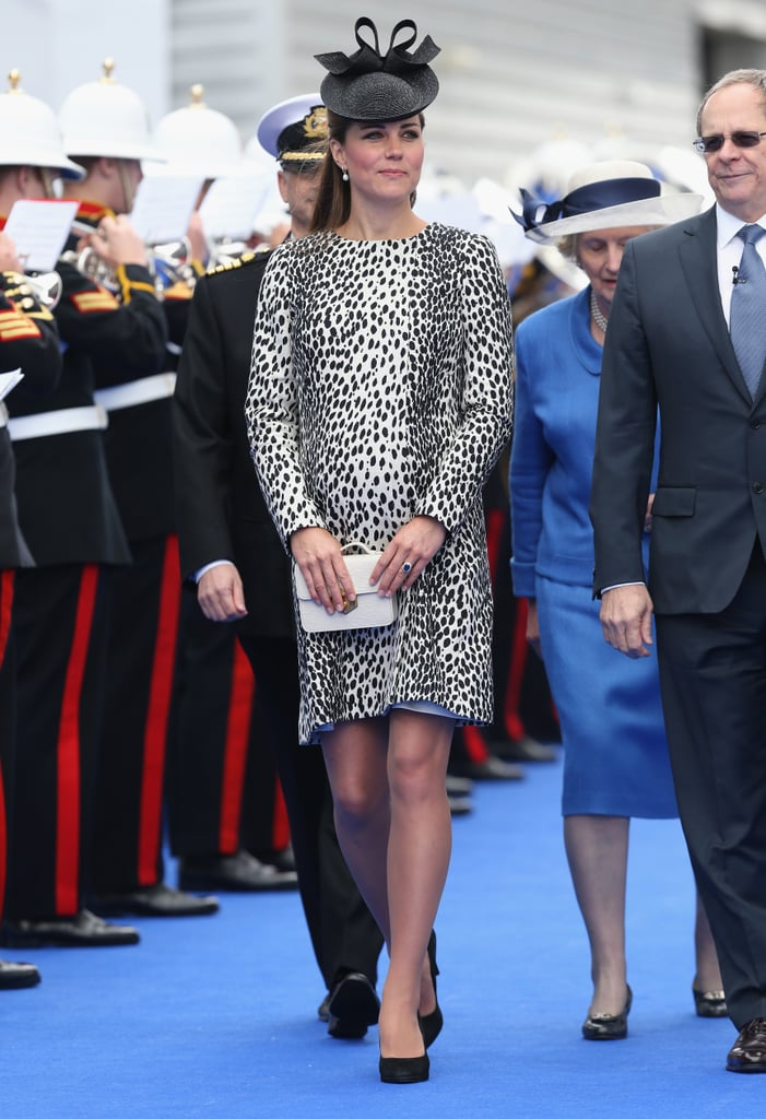 Kate wore an animal-print coat when she visited Southampton, England, in June 2013 where she christened a Princess Cruises ship.