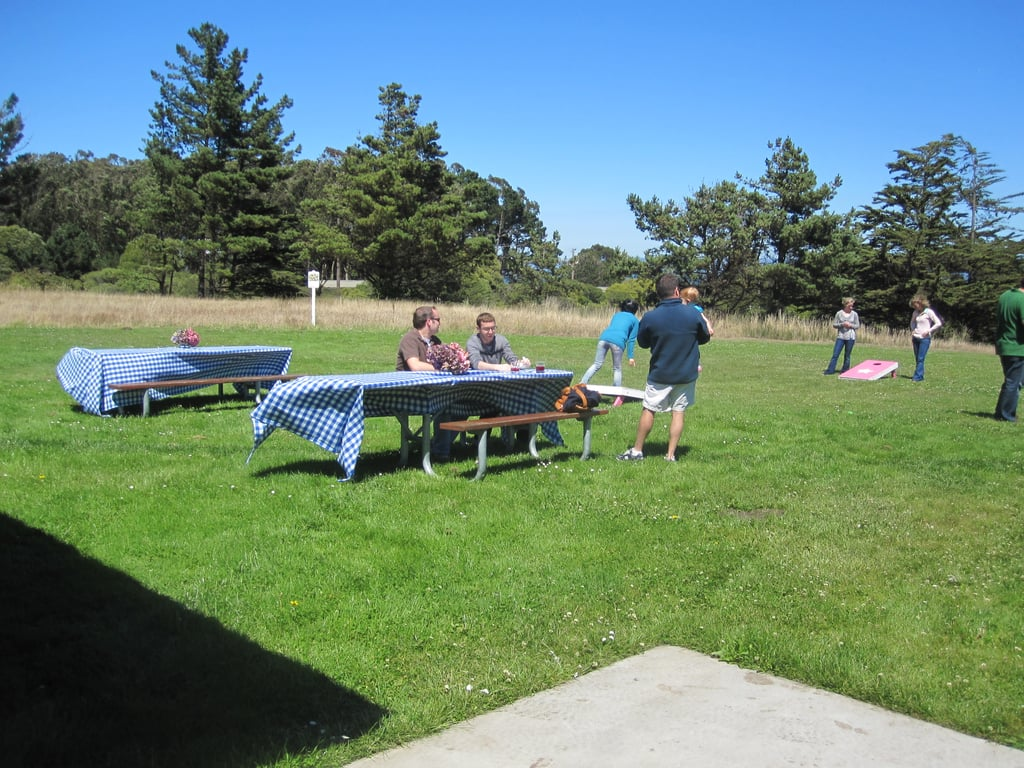 Outside the cabin were picnic tables and lawn games like bocce ball.