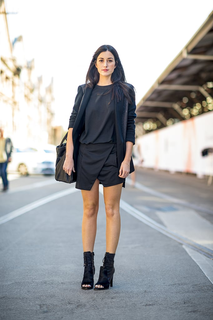 All black felt anything but boring with lace-up open-toe boots and an architectural skirt. Source: Le 21ème | Adam Katz Sinding
