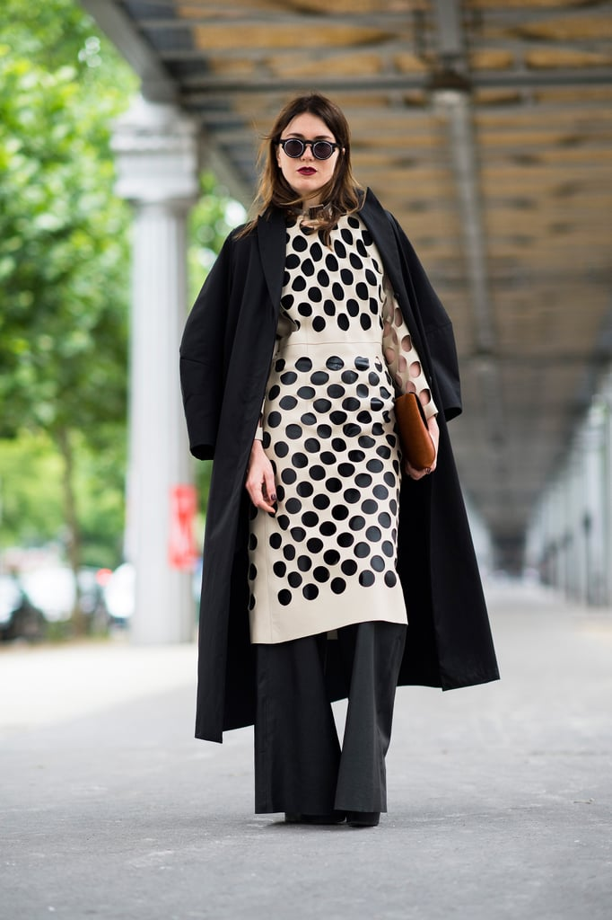 Layers on layers, plus a graphic polka-dot print, made this look a real showstopper.