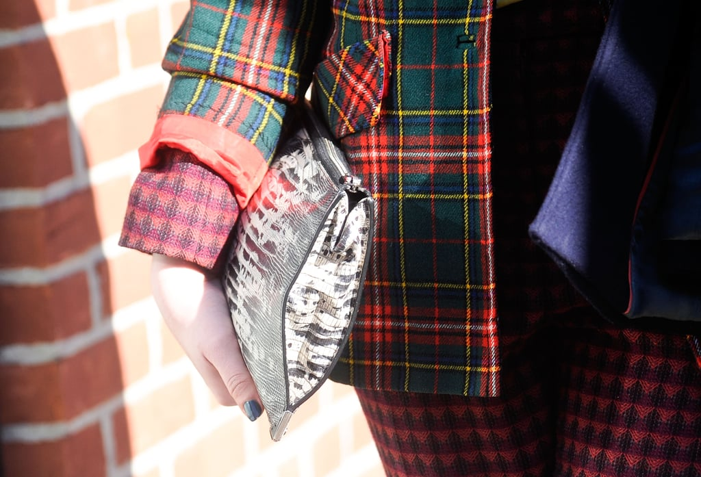 Mixing exotic, plaid, and more print for an unexpectedly cool effect.