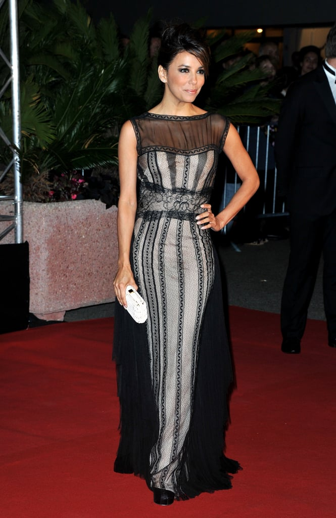 Eva Longoria looked stunning in a sheer black gown at the Cannes Film Festival opening night dinner.