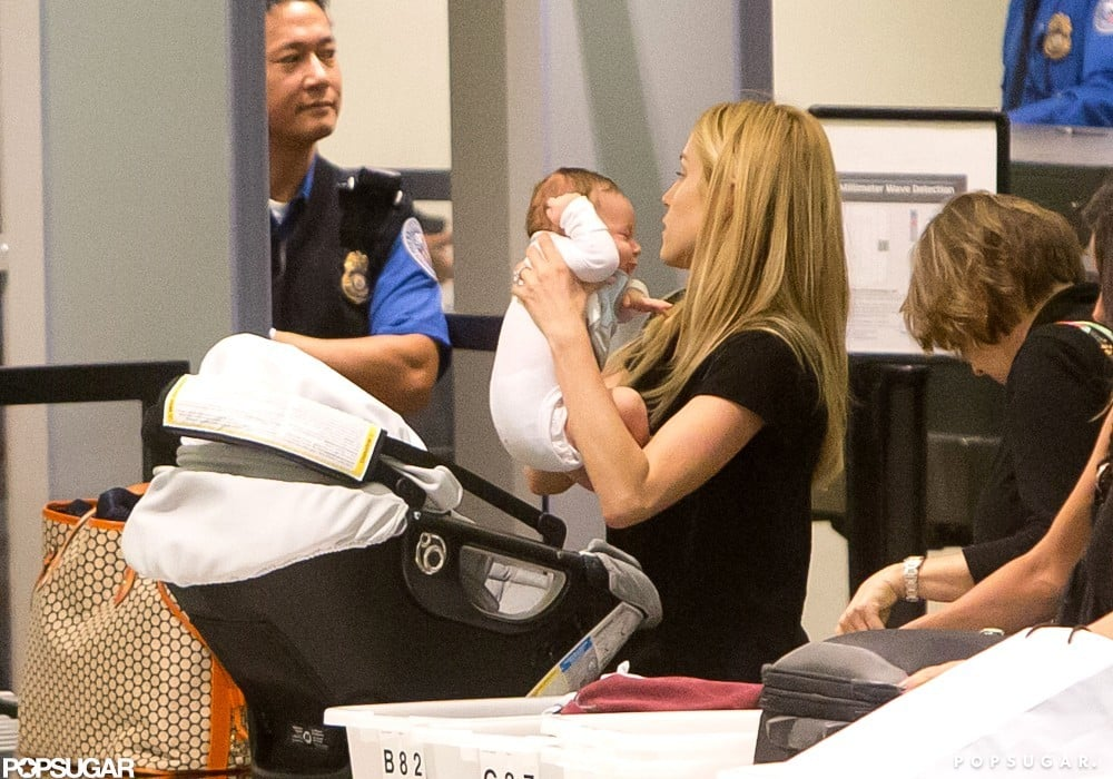 Kristin Cavallari lifted Camden Cutler from his baby carrier.