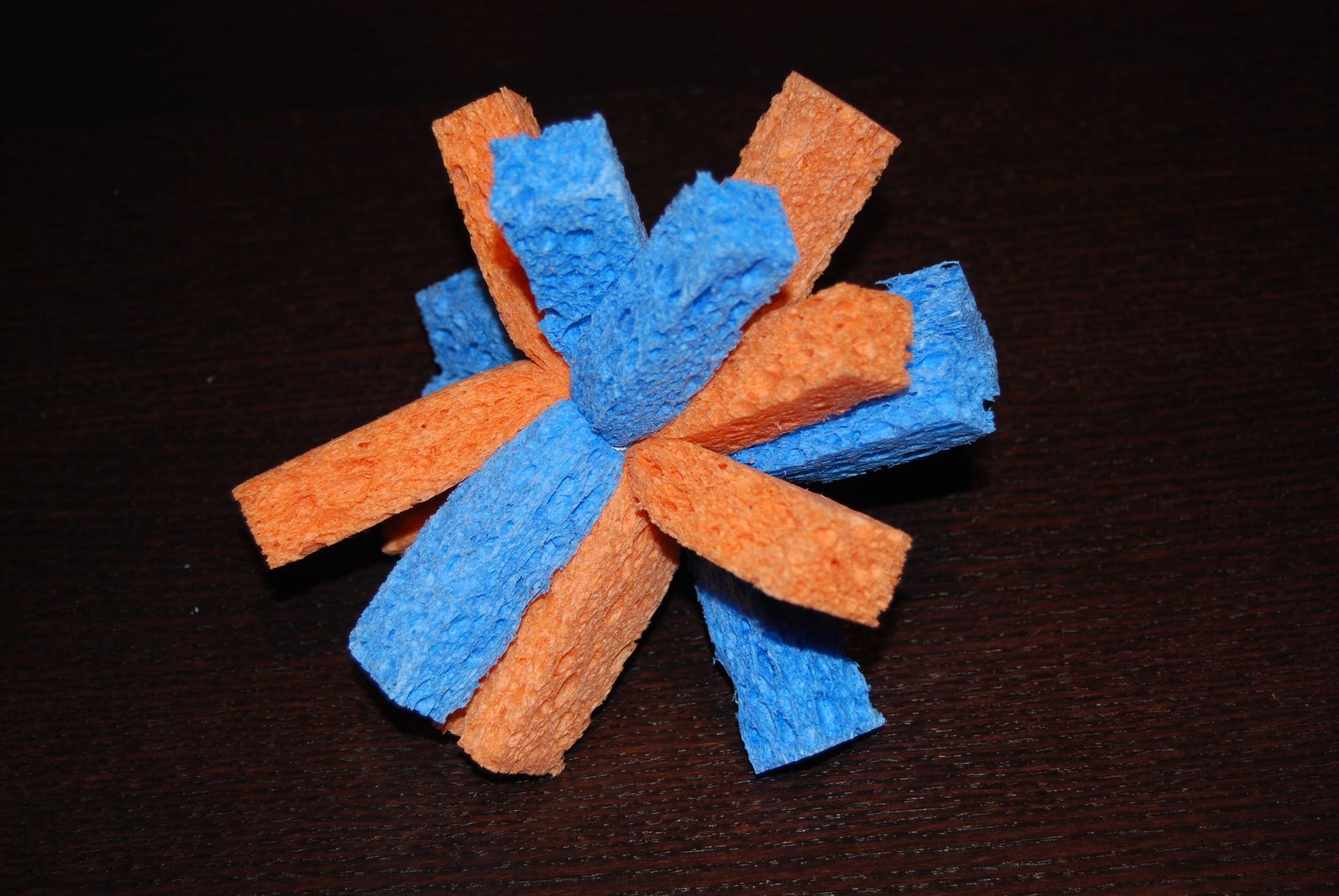 Blue and orange sponge