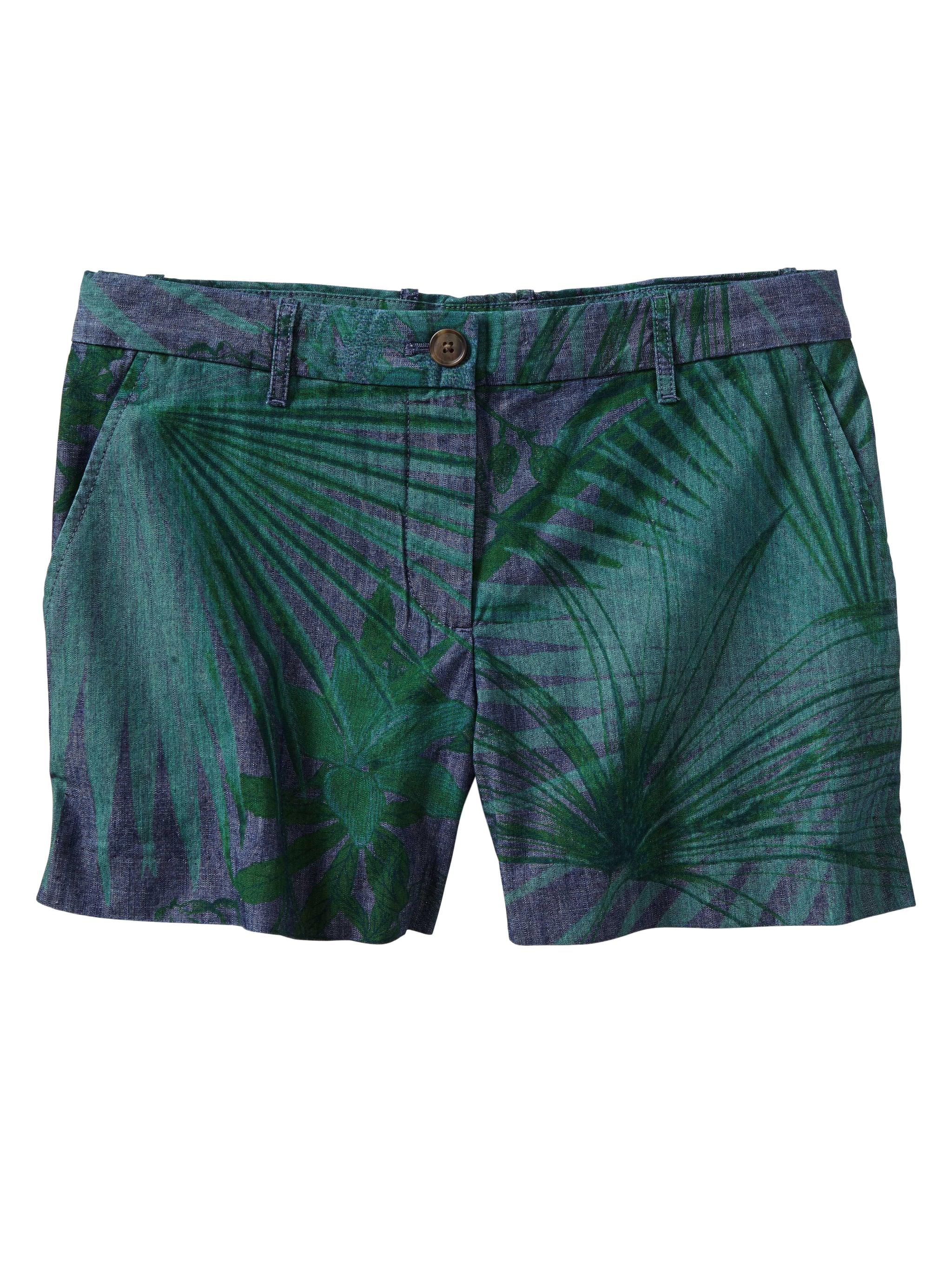 Gap Sunkissed Palm Print Chambray Shorts