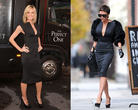 Victoria Beckham and Heidi Klum Wear the Same Victoria Beckham Collection Black Dress
