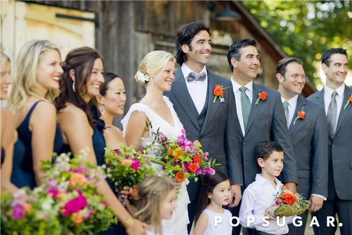 Ali Larter mixed in with the bridal party at Amy Smart and Carter Oosterhouse's fete in September 2011 in Traverse City, MI.