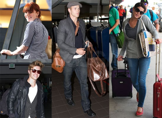 Photos of Nikki Reed, Bryce Dallas Howard, Kellan Lutz, Elizabeth Reaser, Ashley Greene, Xavier Samuel Flying to Film Eclipse