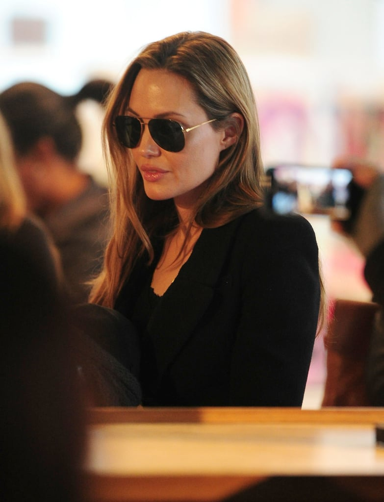 Angelina Jolie wore aviators while toy-shopping in NYC.