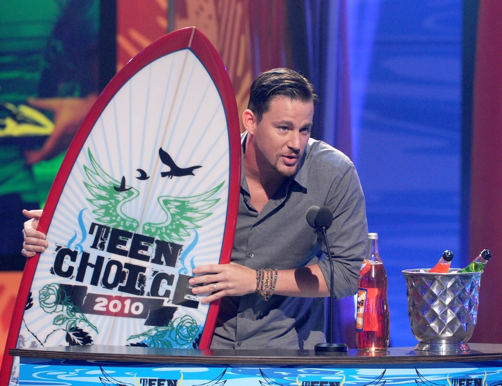 Channing Tatum added another surfboard to his collection and accepted the 2010 Teen Choice Male Action/Adventure award.