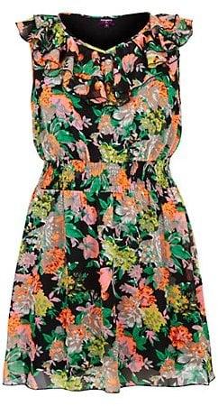 Inspire Black Neon Floral Ruffle Neck Dress